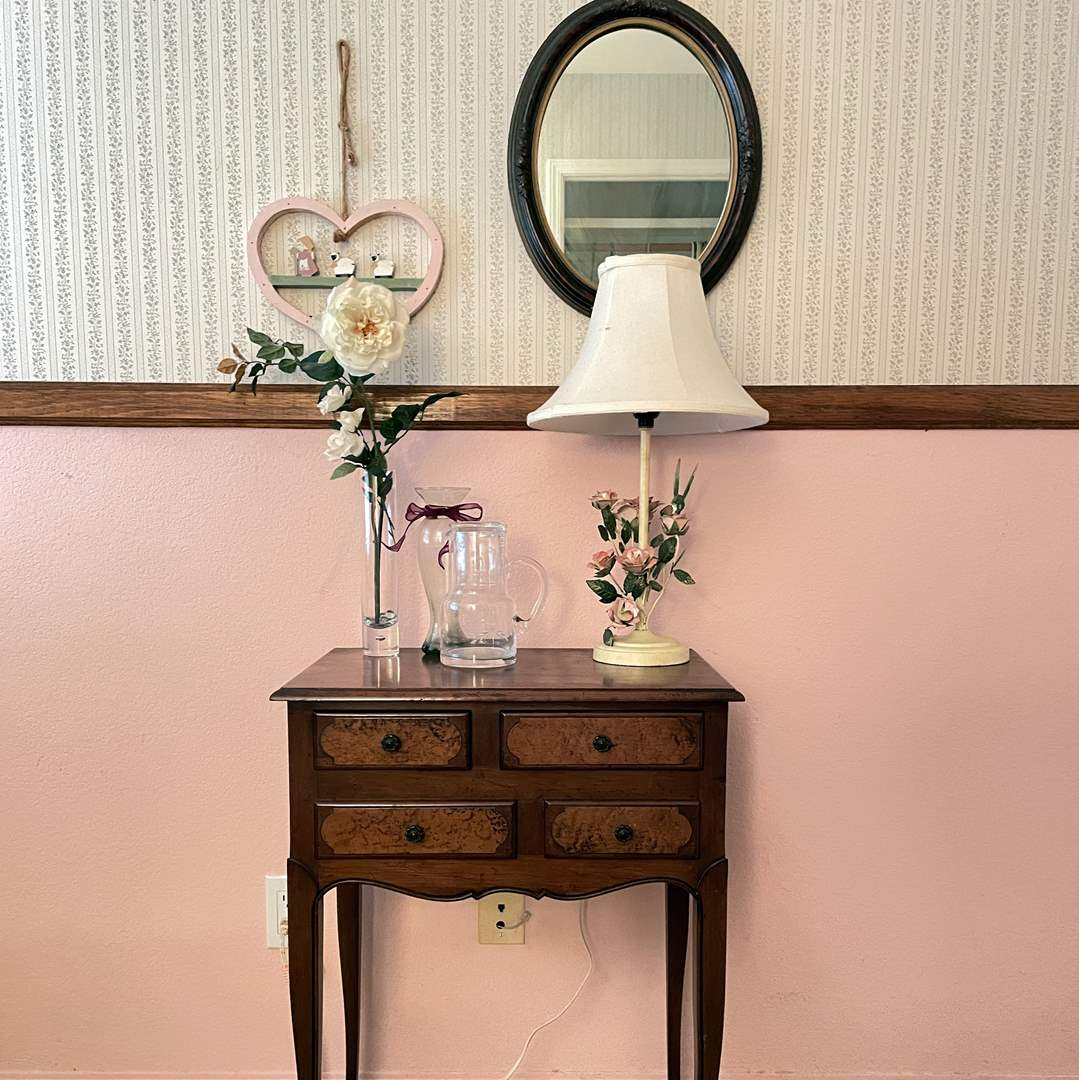 Lot # 116 - Farmhouse Nightstand with Glass & Pitcher, Mirror, Lamp and More (main image)