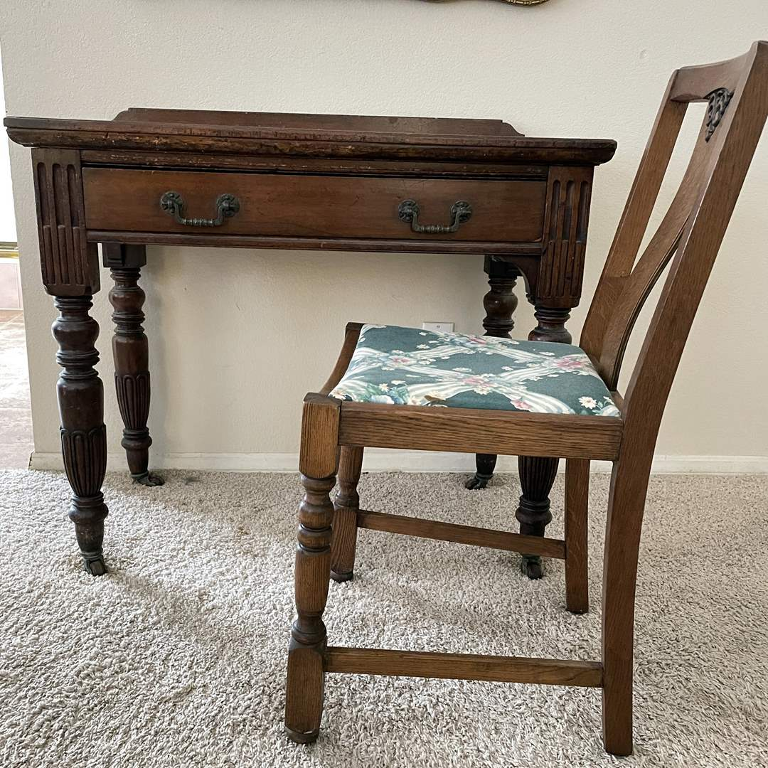 Lot # 125 - Vintage Wood Desk and Chair (main image)