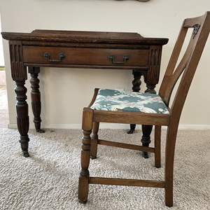Lot # 125 - Vintage Wood Desk and Chair