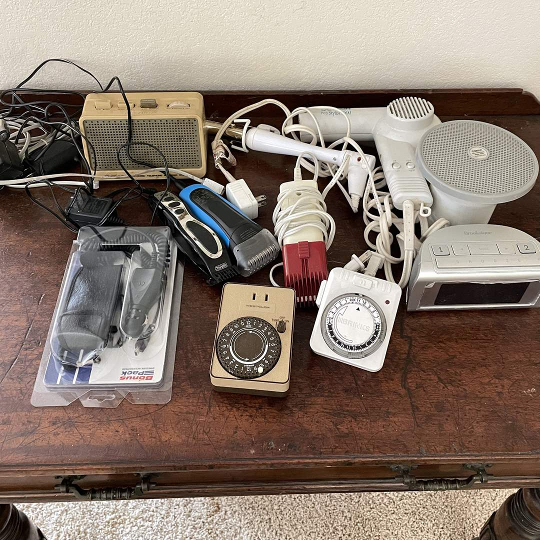 Lot # 127 - Electronics, Timers, Hair Dryer, Trimmers, Etc  (main image)
