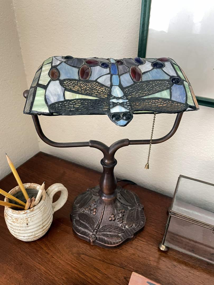Lot # 128 - Tiffany Style dragonfly Lamp, Picture and Other Desktop Items  (main image)