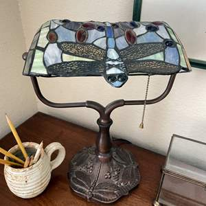 Lot # 128 - Tiffany Style dragonfly Lamp, Picture and Other Desktop Items