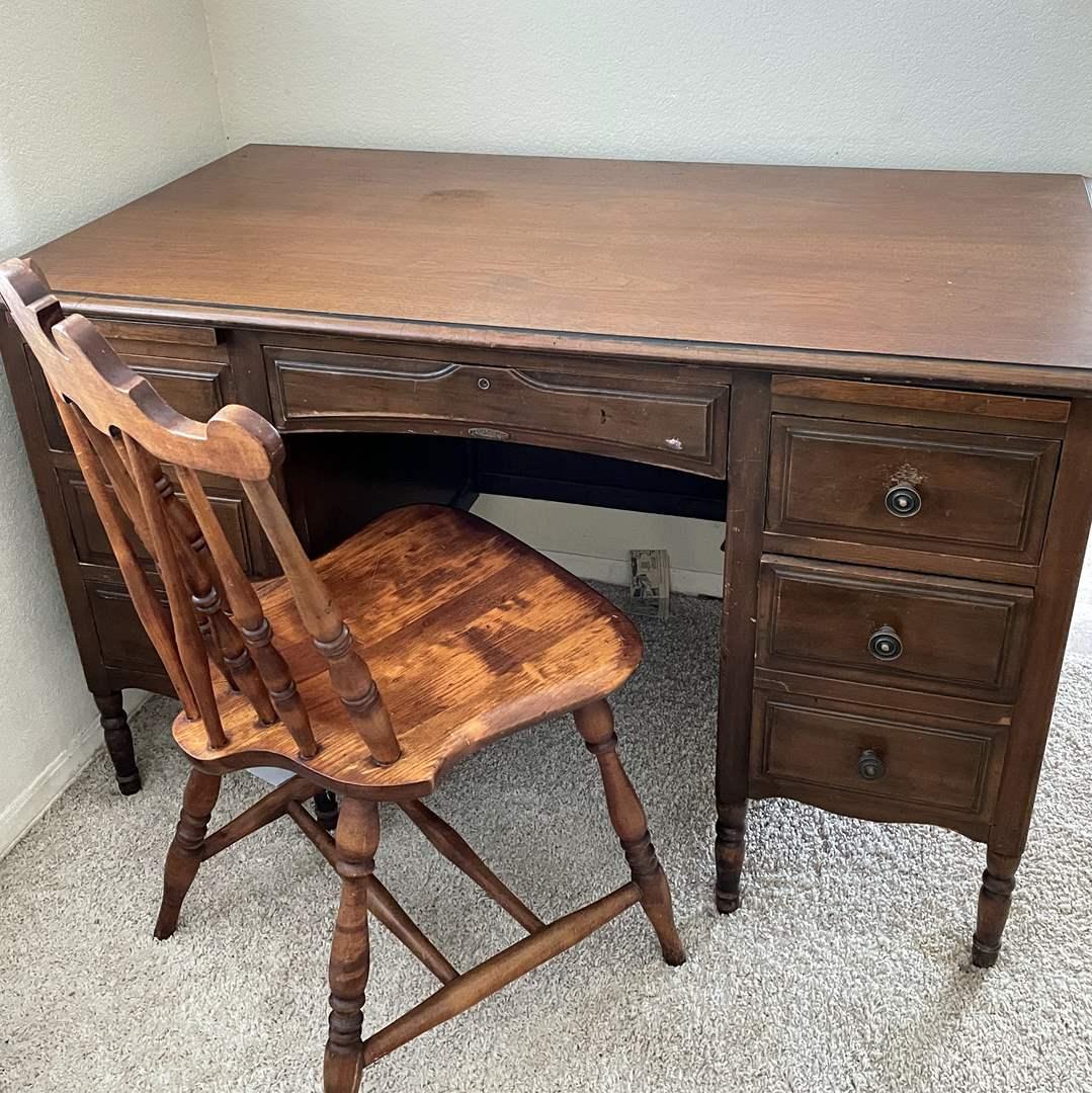 Lot # 131 - Vintage JB Van Sciver  Writers Desk and Beautiful Wood Chair (main image)