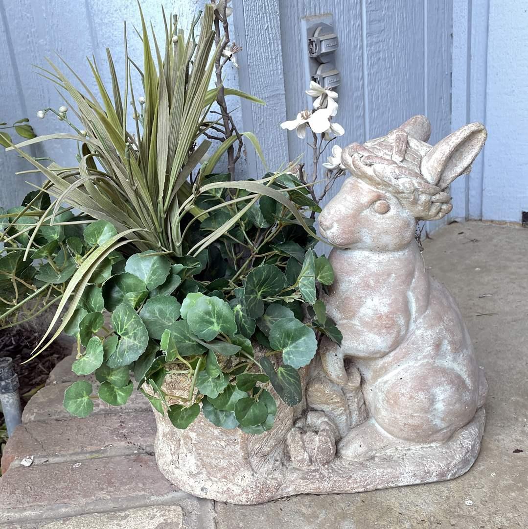 Lot # 151 - Concrete Rabbit Planter (main image)