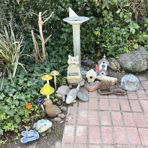 Lot # 157 - FUN Yard Décor, Bird Baths, Bird Houses and MORE