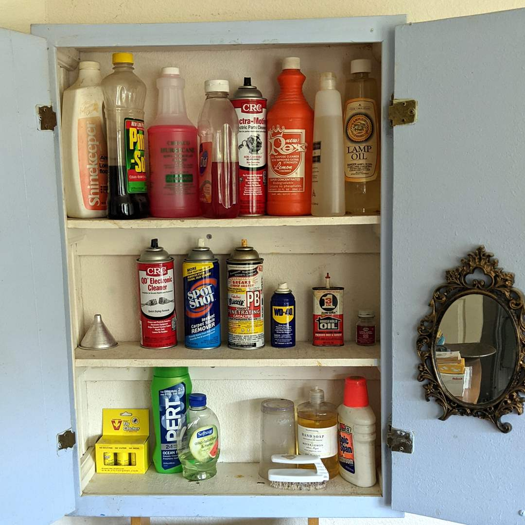 Lot # 171 - Cleaning and Shop Supplies, Plus the Mirror  (main image)