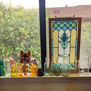 Lot # 174 - Stain glass, Butterflies, Vintage Insulator and Collectible Bottles