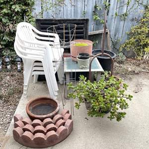 Lot # 160 - Gardening Lot (Repotting Supplies, Mini Dollie, Storage and More)