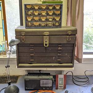 Lot # 175 - Tool Chest, Organizing Bins, Lamp, Radio and All Tools inside