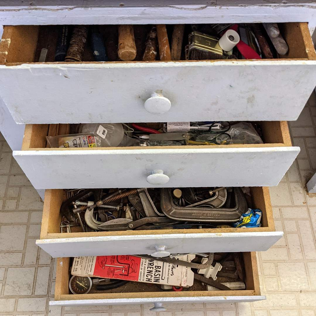 Lot # 177 - All Contents Of 4 Large Drawers (Tools and Shop Supplies) (main image)