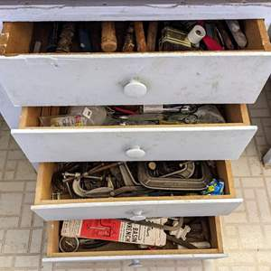 Lot # 177 - All Contents Of 4 Large Drawers (Tools and Shop Supplies)