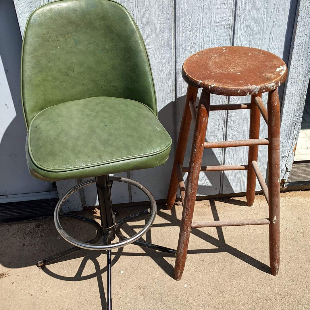 Lot # 178 - Classic Shop Chair and Stool (main image)