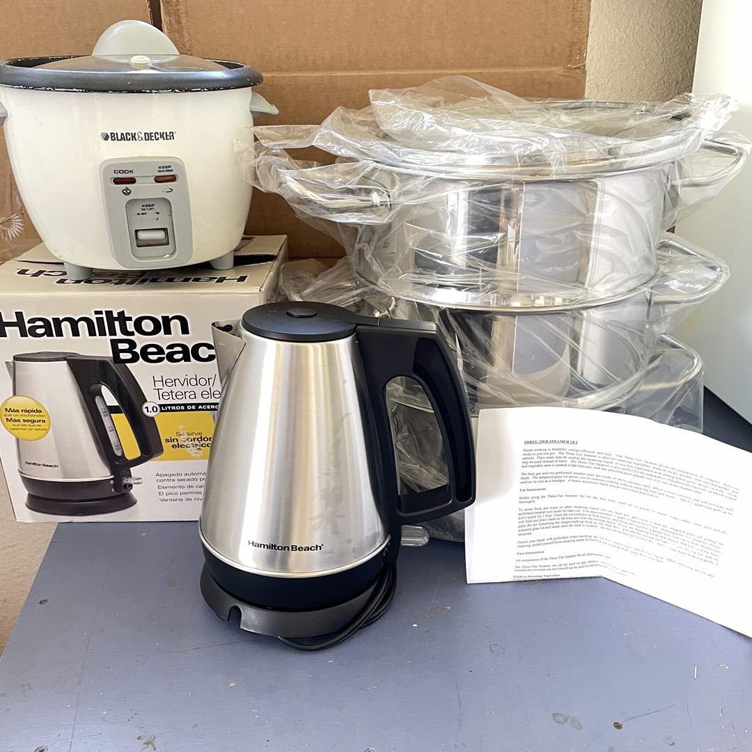 Lot # 196 - William Sonoma 3-Tier Steamer, Rice Cooker and Electric Kettle (main image)
