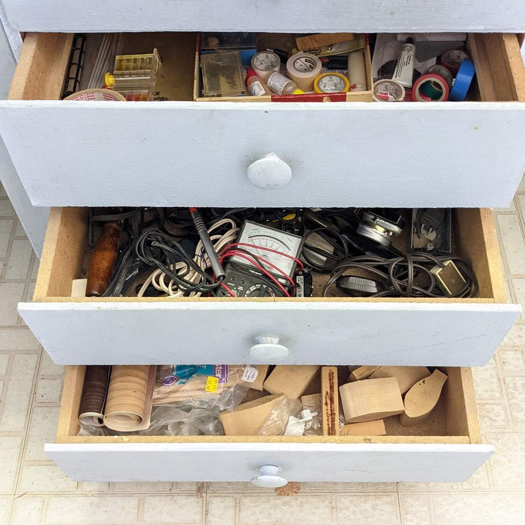 Lot # 179 - (3) Contents of Drawers (Shop Tools and Items) (main image)