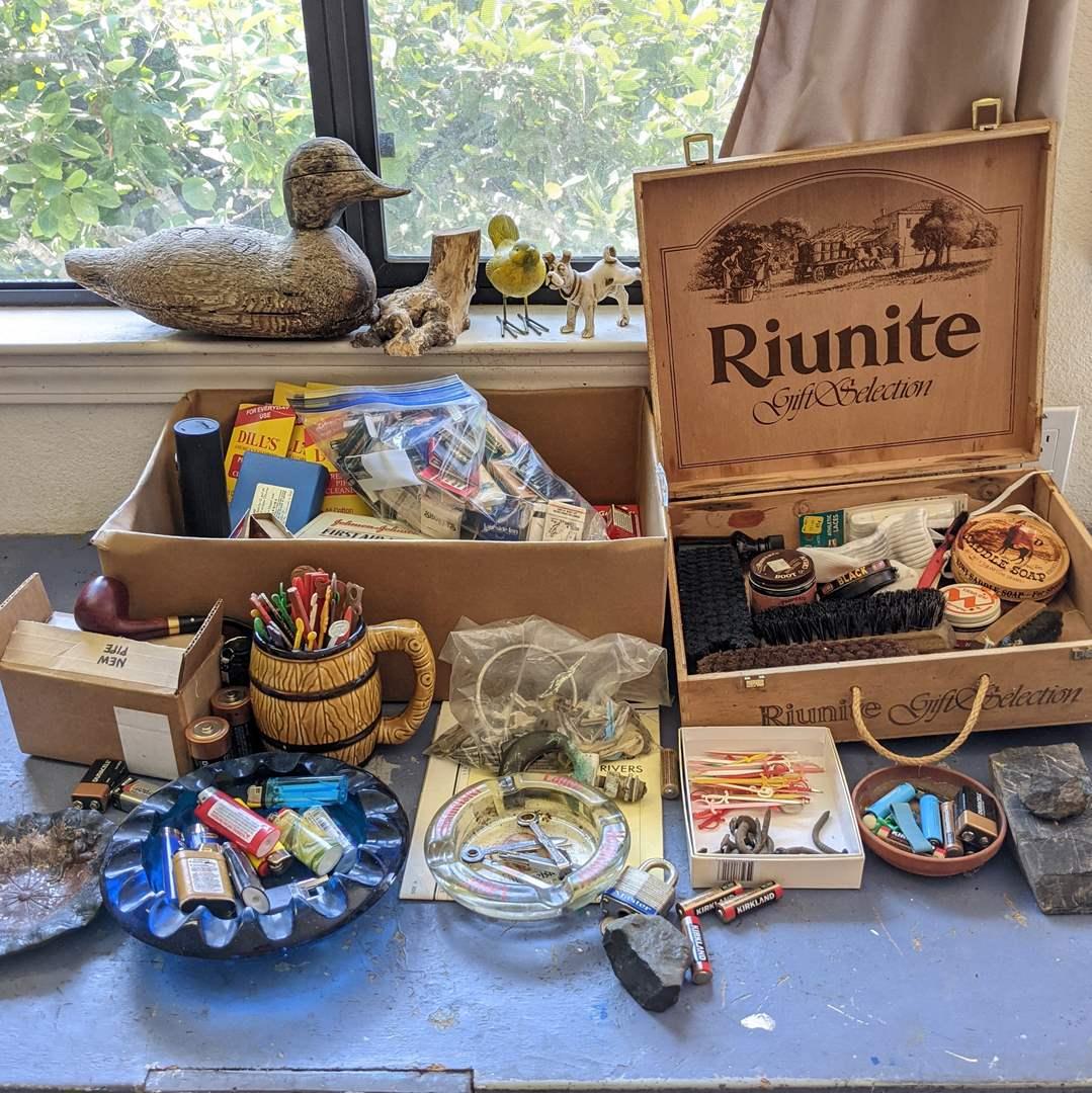 Lot # 180 - Random Shop Lot, Vintage, keys, matches, ashtrays, and New Dr. Grabow Pipe (main image)