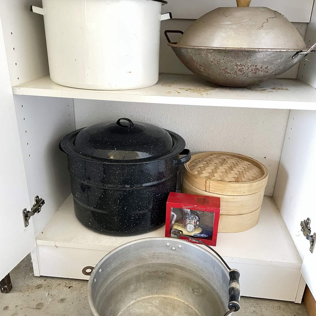 Lot # 198 - Crab Boilers, Bamboo Steamers, Lidded Wok and Fisherman's Clock (main image)
