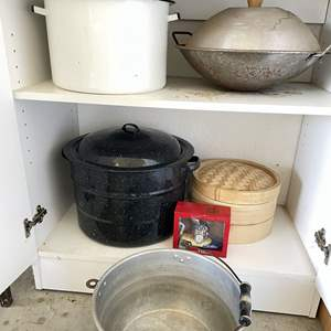 Lot # 198 - Crab Boilers, Bamboo Steamers, Lidded Wok and Fisherman's Clock