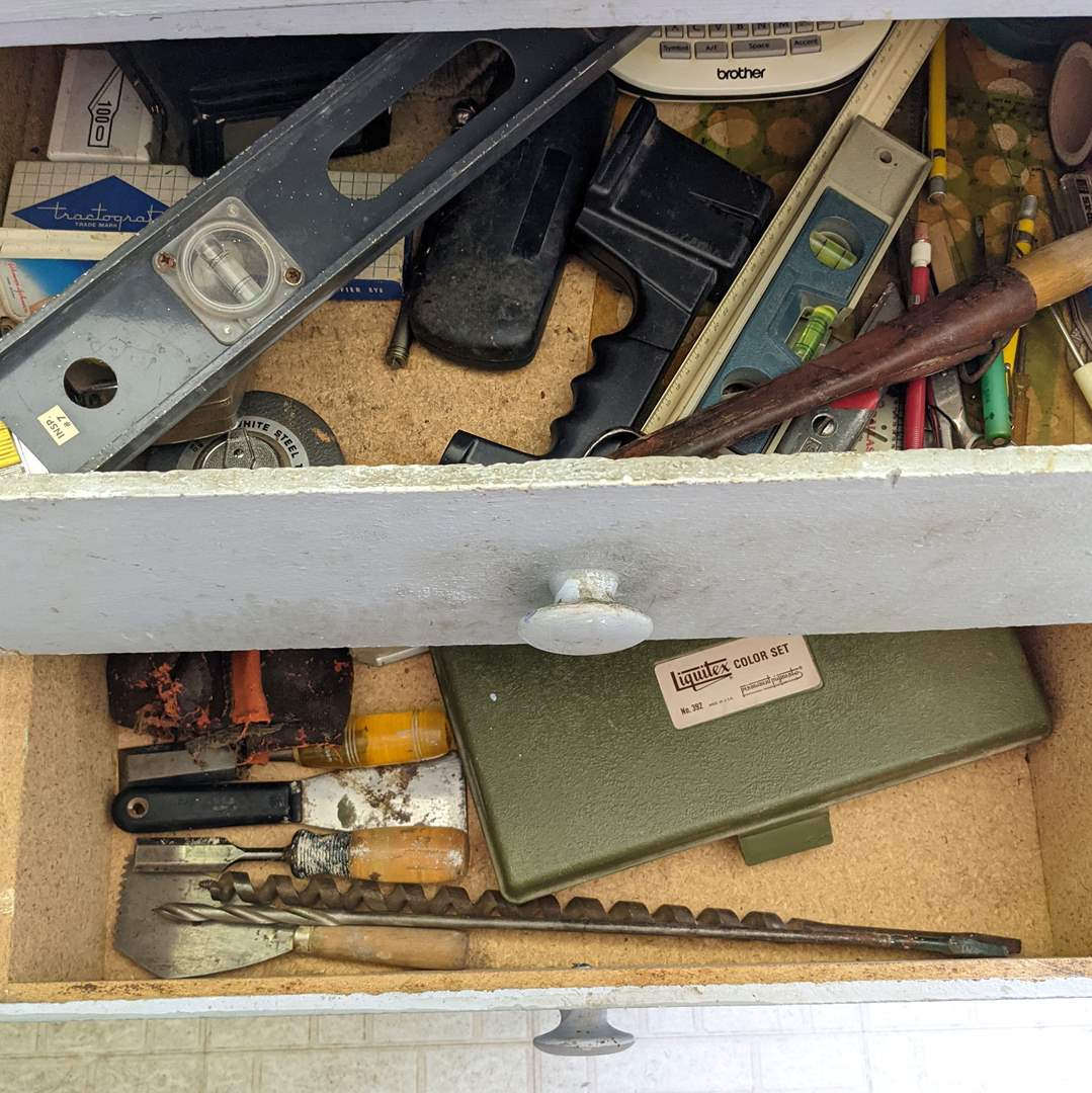 Lot # 183 - Contents of 2 Drawers (Drill Bits, Tools, Etc) (main image)