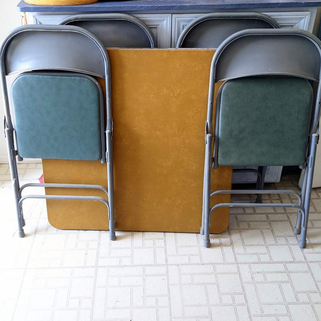 Lot # 187 - Card Table and (4) Folding Chairs (main image)