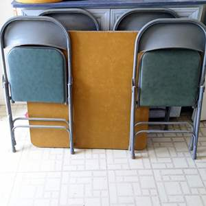 Lot # 187 - Card Table and (4) Folding Chairs