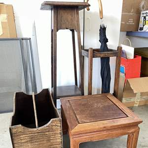 Lot # 201 - Wood Accent Pieces (Foot Stool, Magazine Holder, Umbrella Stand and Stand)
