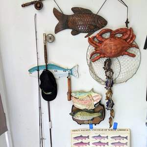 Lot # 188 - For the Fisherman Rods, reels and decor