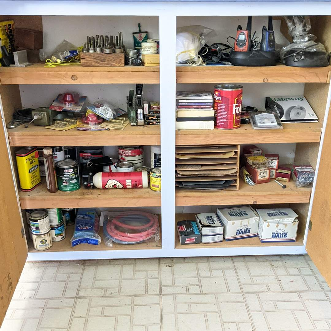 Lot # 192 - 8 Shelves Filled with Garage and Shop Items  (main image)