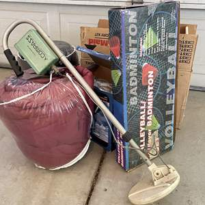Lot # 203 - Great Outdoors (Sleeping Bags, Camp TV/Radio, Metal Detector, Cooktop and Sports)