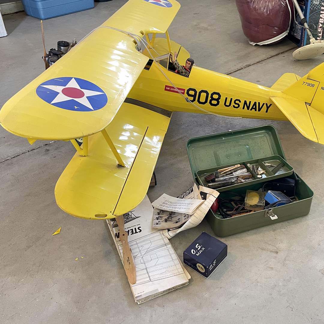Lot # 204 - Large 908 US Navy RC Plane, Controller, Toolbox, Extra Engine  (main image)