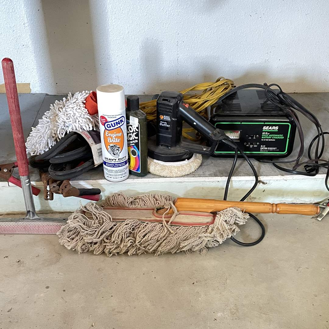 Lot # 211 - Automotive Items: Polisher, Battery Charger, Cleaning Items  (main image)