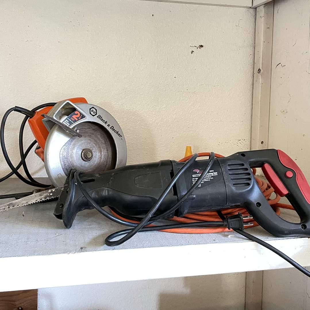 Lot # 215 - Black & Decker 2 1/2 HP Circular Saw and Reciprocating Saw  (main image)