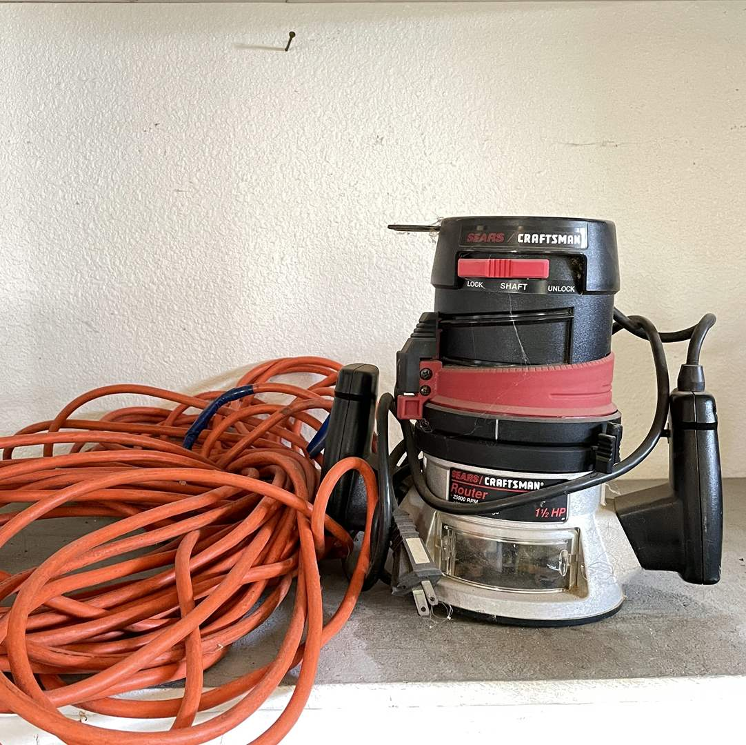 Lot # 216 - Craftsman 1 1/2 HP Router and Extension Cord  (main image)