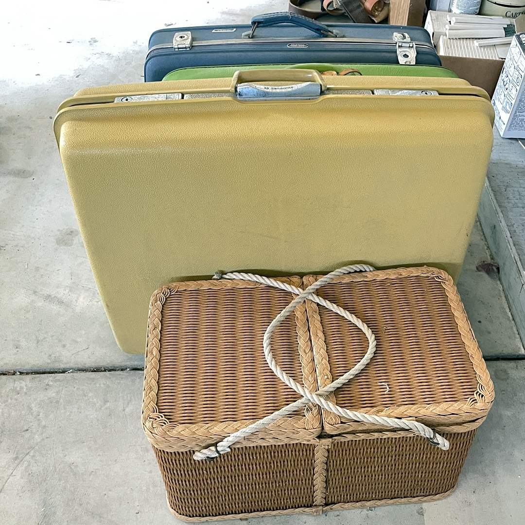 Lot # 217 - (3) Vintage Luggage and Picnic Basket  (main image)