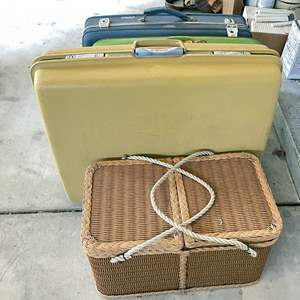 Lot # 217 - (3) Vintage Luggage and Picnic Basket