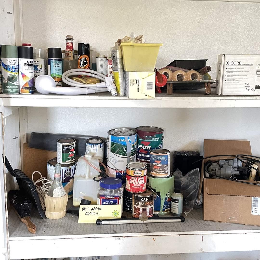 Lot # 218 - 2 Shelves of Home Improvement Items  (main image)