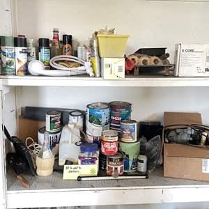 Lot # 218 - 2 Shelves of Home Improvement Items