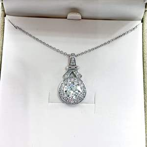 Lot # 225 - Forever One Moissanite 4 Carat Pendant Necklace 925 Silver