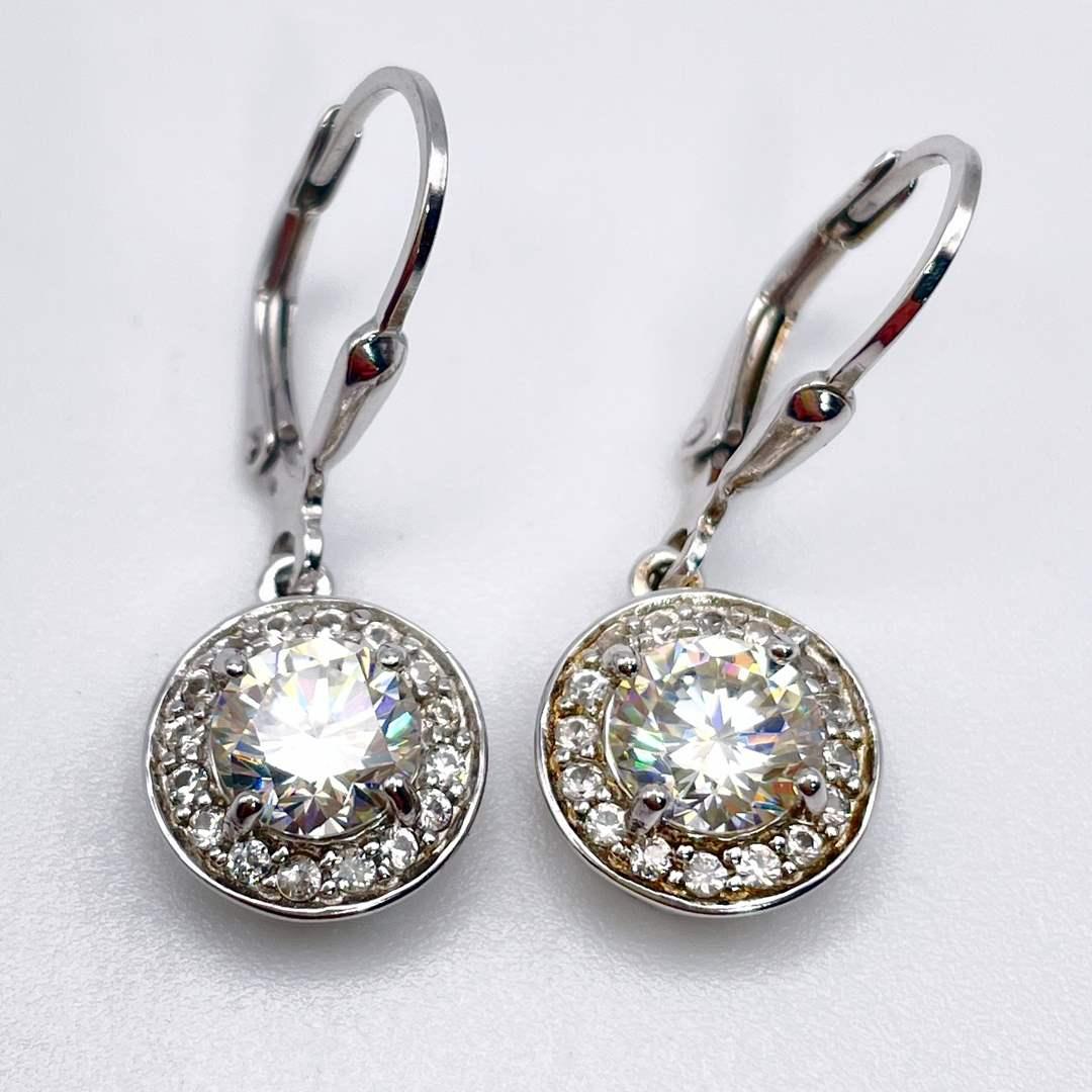 Lot # 226 - BBJ Halo Moissanite Earrings  (main image)