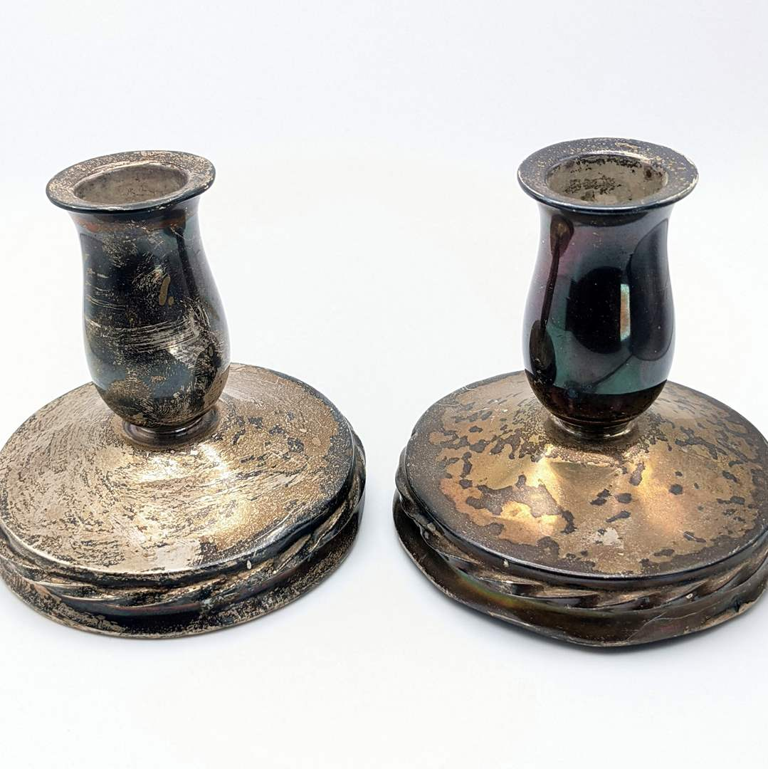 Lot # 231 - (2) Sterling Candleholders, Filled and Reinforced  (main image)