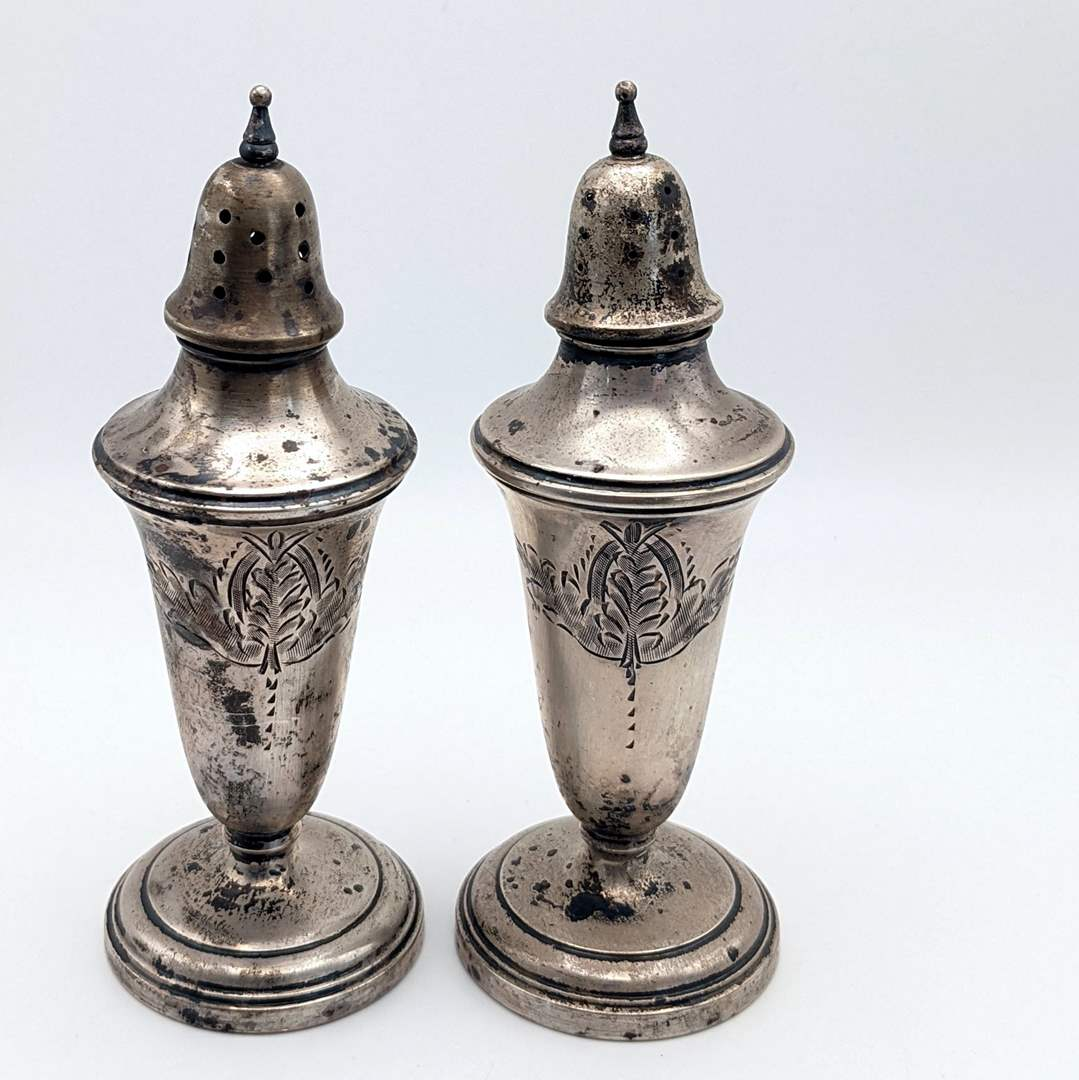 Lot # 233 - Vintage Sterling Weighted Salt and Pepper Shakers  (main image)