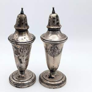 Lot # 233 - Vintage Sterling Weighted Salt and Pepper Shakers