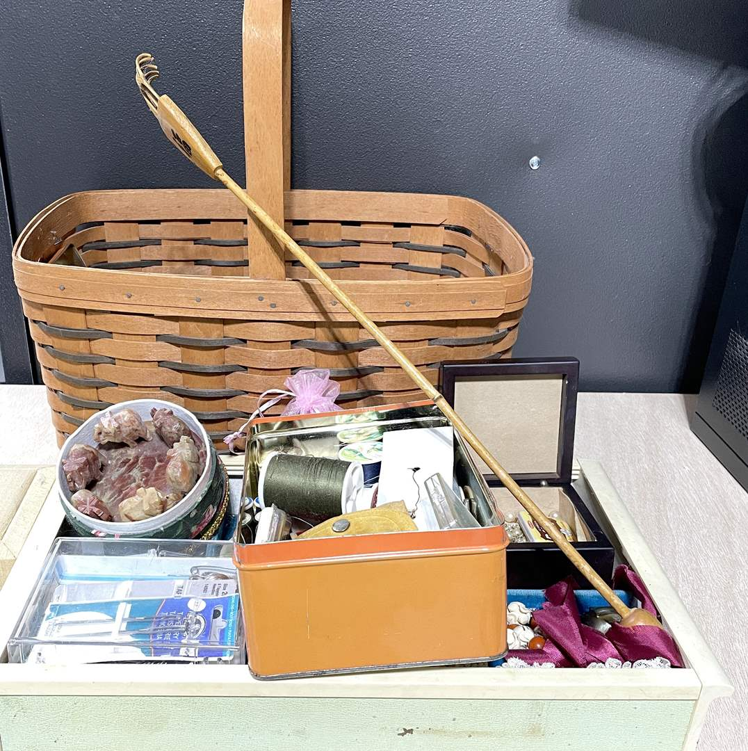Lot # 254 - Sewing Basket and Accessories (main image)