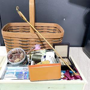 Lot # 254 - Sewing Basket and Accessories