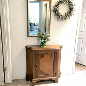 Lot # 109 - Hall Cabinet, Mirror, Wreath and Vase