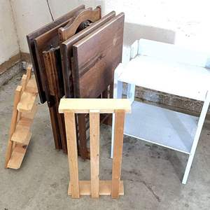 Lot # 222 - (4) Tray Tables & Holder (2) Wood Risers and (1) Wood Shelf