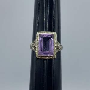 Lot #  5 - 18k white gold ring with amethyst (3.8g total weight)