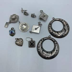 Lot #  19 - Sterling charms and earrings (23.4g)