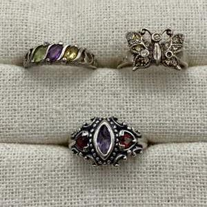 Lot #  22 - Sterling rings with stones