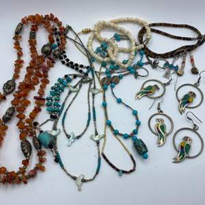Lot #  34 - Zuni birds, turquoise and other beautiful jewelry