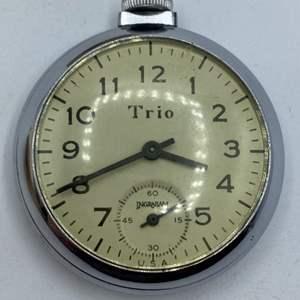 Lot #  36 - Trio by Ingraham Mechanical Wind Up Vintage Pocket Watch